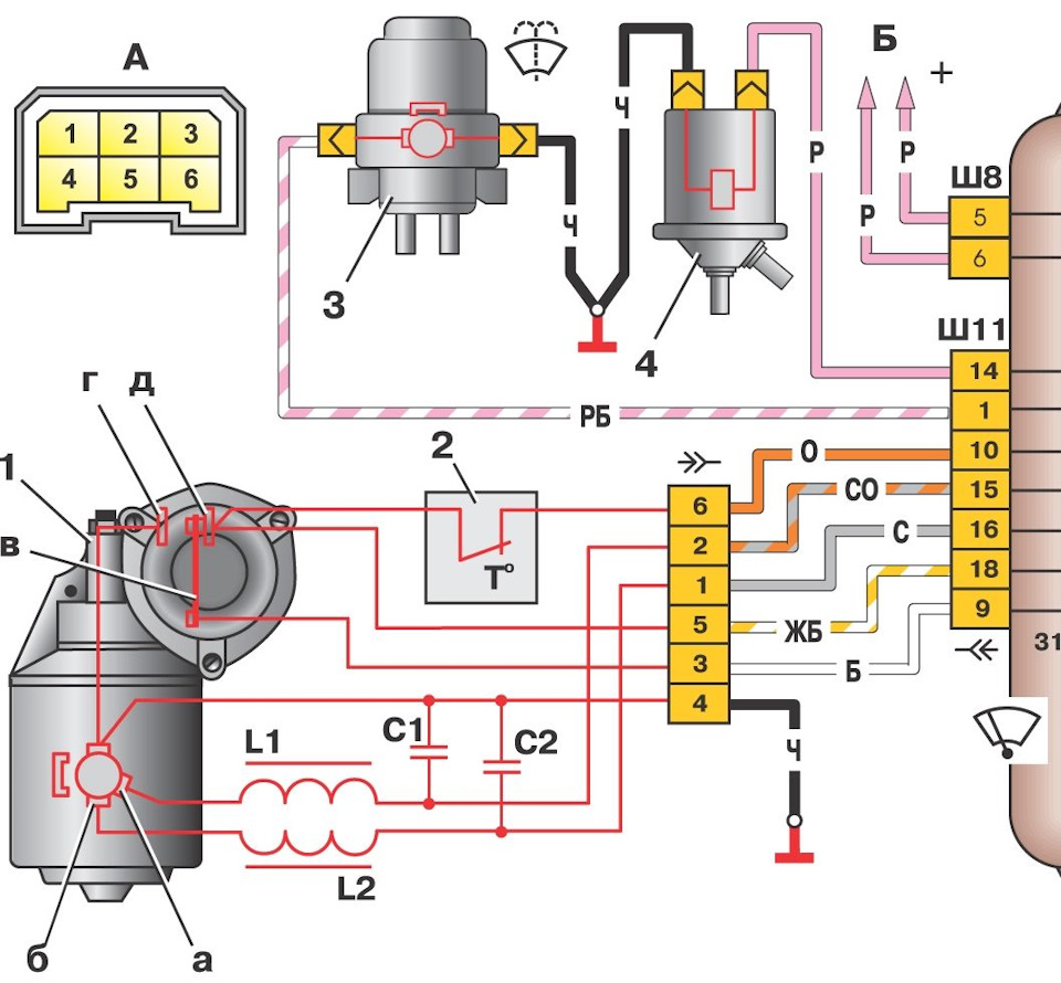 Схема подключения привода стеклоочистителя ВАЗ 2108